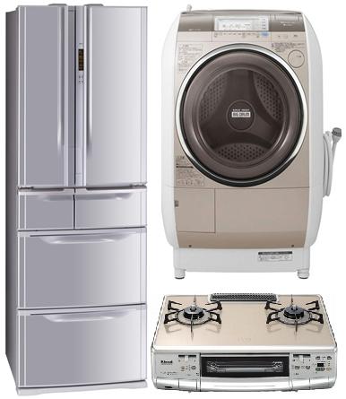 家電の画像 冷蔵庫 ドラム洗濯機 ガスコンロ